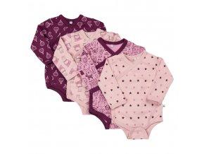 Pippi novorozenecké body s dlouhým rukávem set 4 ks 4760-600