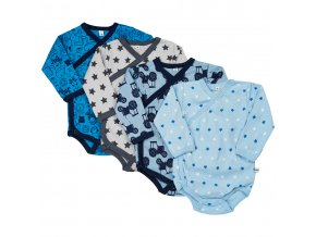 Pippi novorozenecké body s dlouhým rukávem set 4 ks 4760-725
