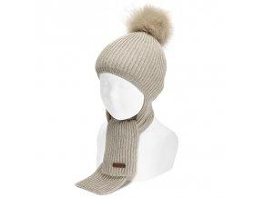 bonnet echarpe doux et chaud avec pompom faux fur