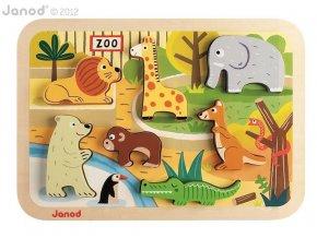 J07022 Drevene vkladacie puzzle pre najmensich ZOO Chunky Janod od 1 roka 7 dielov 2