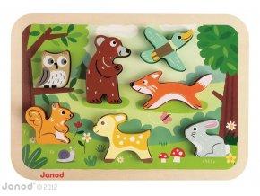 J07023 Drevene vkladacie puzzle pre najmensich Lesne zvierata Chunky Janod od 1 roka 7 dielov 2