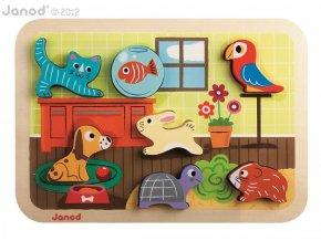J07024 Drevene vkladacie puzzle pre najmensich Zvieratka Chunky Janod od 1 roka 7 dielov 2