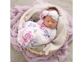 Bavlněná zavinovačka / šátek s čelenkou set Lilac Skies