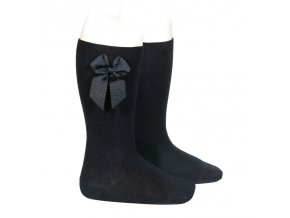 knee high socks with grossgrain side bow black