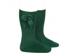 knee high socks with grossgrain side bow bottle green