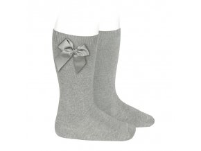 knee high socks with grossgrain side bow aluminium (1)