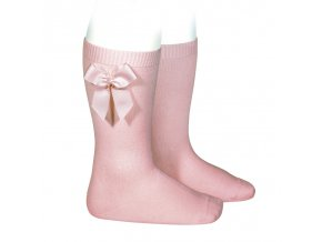 knee high socks with grossgrain side bow pale pink (1)