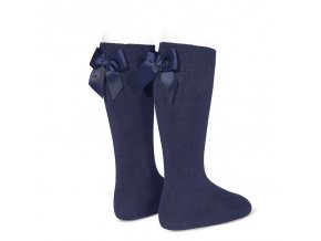 knee high socks with grossgrain back bow navy blue