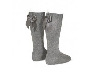 knee high socks with grossgrain back bow light grey