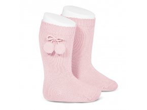 warm cotton knee high socks with pompoms pink