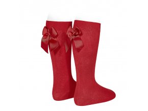 knee high socks with grossgrain back bow red
