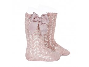 perle openwork knee high socks with bow pale pink
