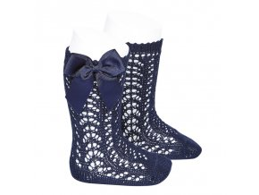 perle openwork knee high socks with bow navy blue