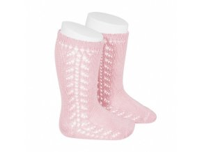 baby side openwork knee high socks pink