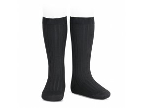 wide ribbed cotton knee high socks black