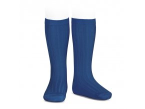 wide ribbed cotton knee high socks indigo blue