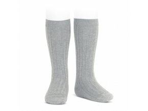 wide ribbed cotton knee high socks aluminium
