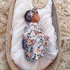 Bavlněná zavinovačka / šátek s čelenkou set Vintage Blossom
