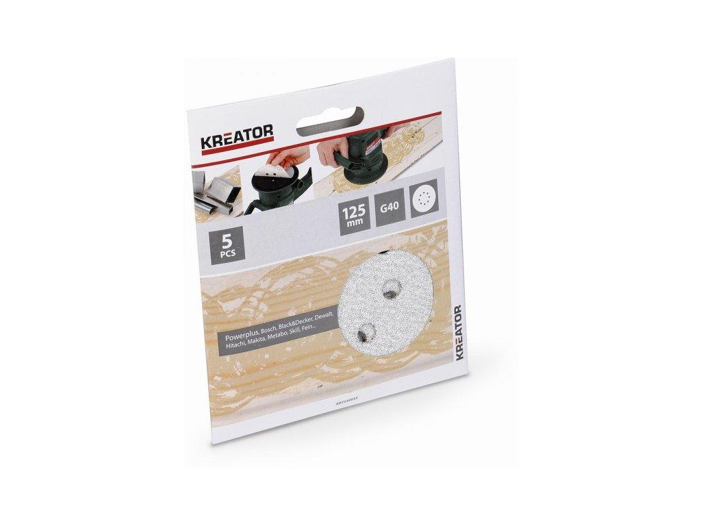 Kreator KRT230553 5x Brusný papír 125 mm na barvu G40