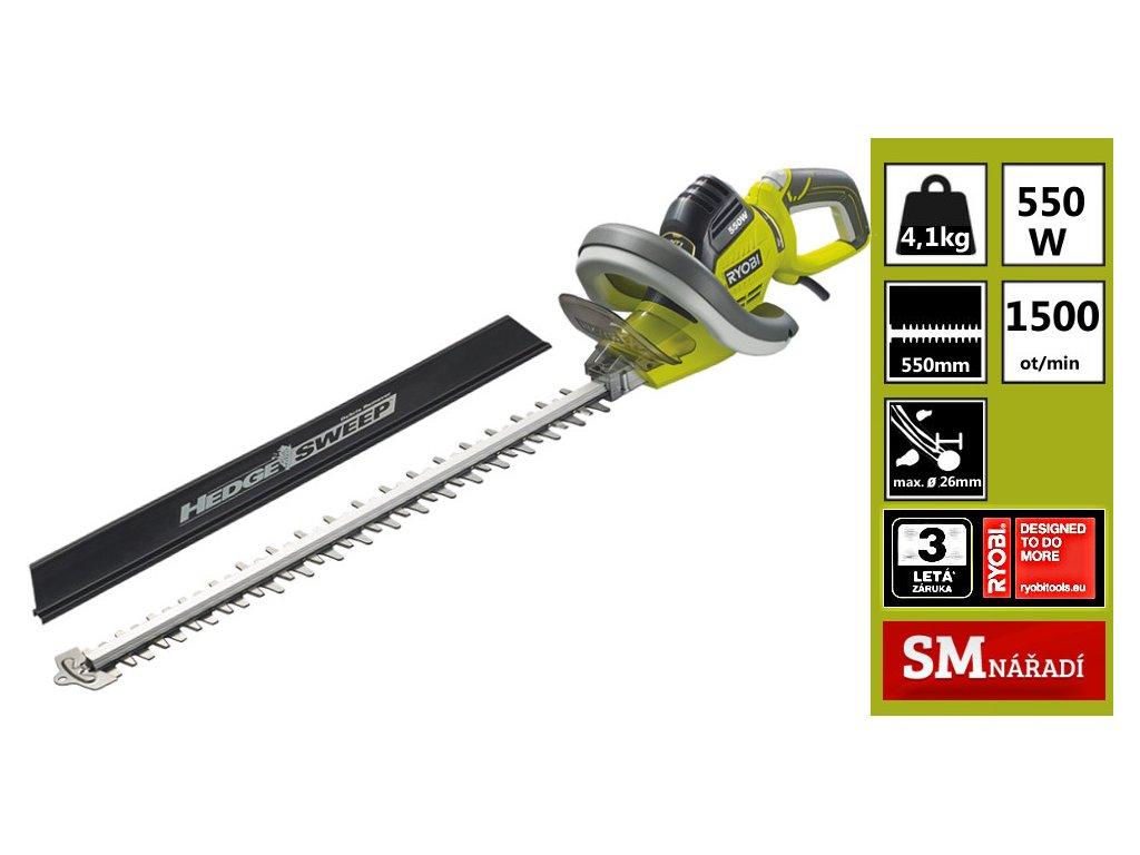 Ryobi RHT 5555RS Elektrický plotostřih 550W, 550mm, ochranné pouzdro  + prodloužená záruka 2+1 rok ZDARMA + SMservis - bezstarostné zajištění opravy