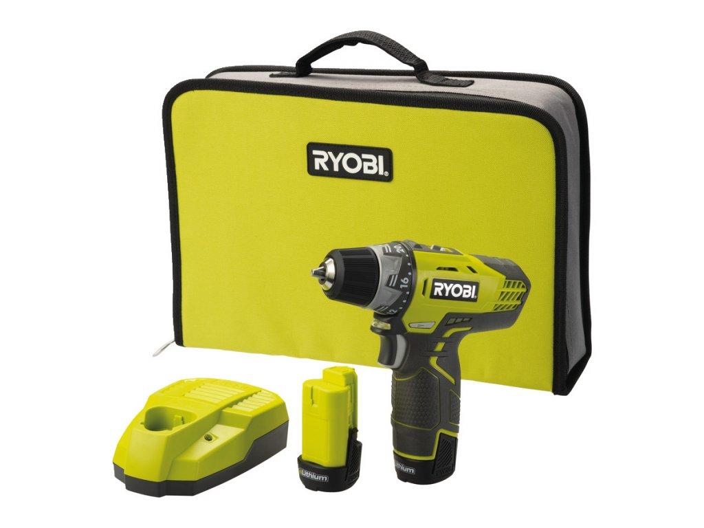 Ryobi R12DD-LL13S Aku vrtačka/šroubovák 12V, 30Nm, 2x 1,3Ah Li-ion, nabíječka, taška  + prodloužená záruka 2+1 rok ZDARMA + SMservis - bezstarostné zajištění opravy