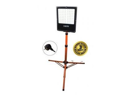 Solight WM100WFVS LED venkovní reflektor, 100W, 8500lm, AC 230V, vysoký stojan černá