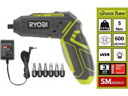 Ryobi R4SDP-L13C Aku šroubovák 4V, 5Nm, 1x1,3Ah Li-ion, 5x bit, nabíječka,  + prodloužená záruka 2+1 rok ZDARMA + SMservis - bezstarostné zajištění opravy