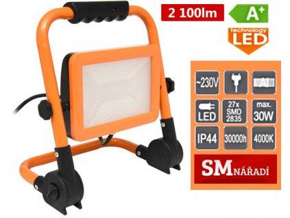 Ecolite LED reflektor s podstavcem, 30W, 4000K, 2100lm, IP44, oranžová