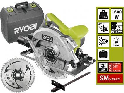 Ryobi RCS1600 K2B Okružní pila s laserem 1 600W,190mm,24zb, náhradní kotouč, vodítko, kufr