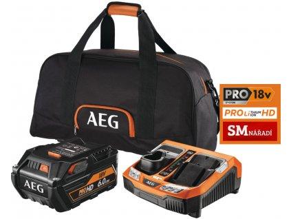 AEG SET L1860RHDBLK, Set akumulátoru 6,0Ah/18V a duální nabíječky BLK1218, taška