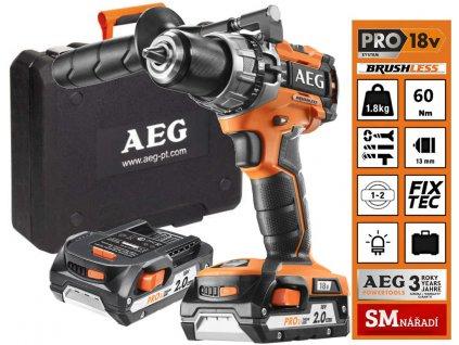 AEG BSB 18C2 BL LI-202 Aku bezuhlíková příklepová vrtačka,18V,60Nm,2x2,0Ah,nabíječka,kufr