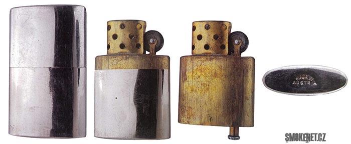 """Zapalovač """"rakušák"""", který inspiroval G.G Blaisdella při vývoji Zippo zapalovače"""