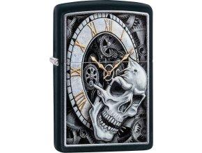 Zapalovač Zippo 26854 Skull Clock Design