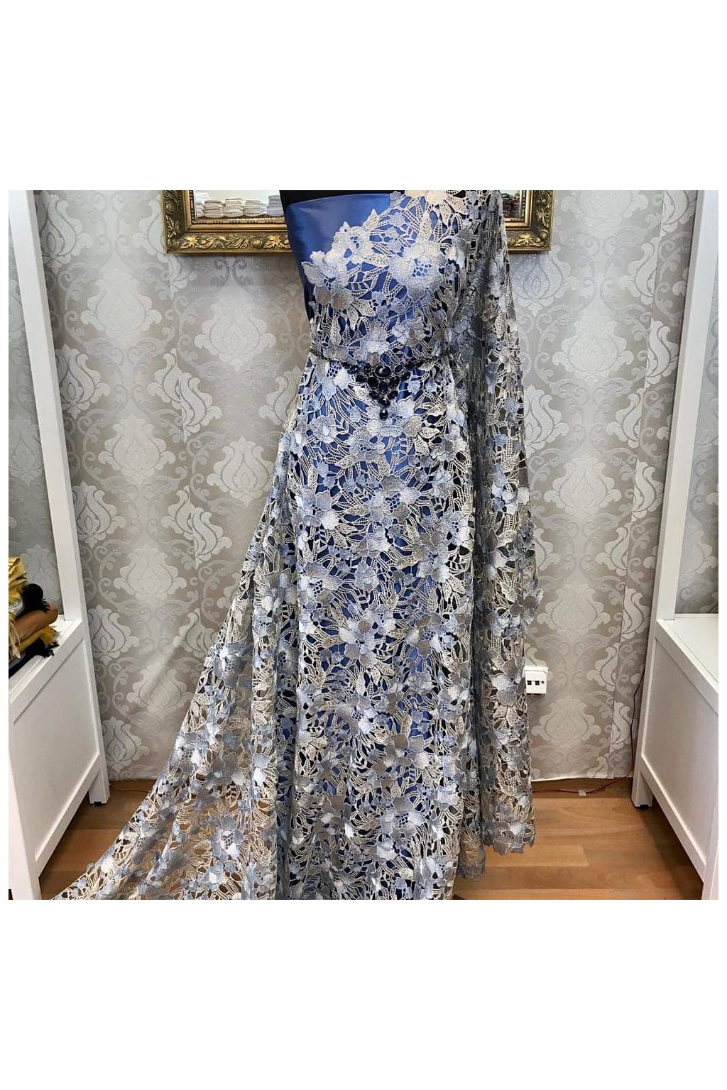 Krajka guipure flower blue