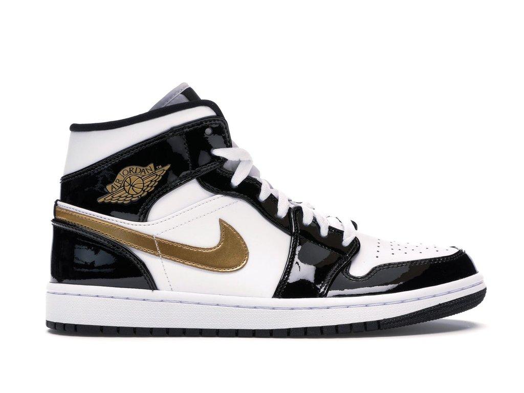 Jordan 1 Mid Patent Black White Gold (Velikost 46)