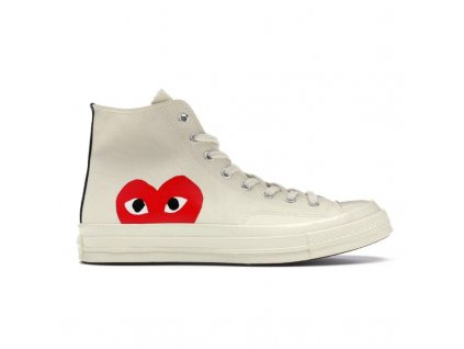 Comme Des Garcons Play x Convserse Chuck Taylor 1970s Hi White