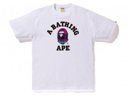 BAPE Check College Tee White Navy
