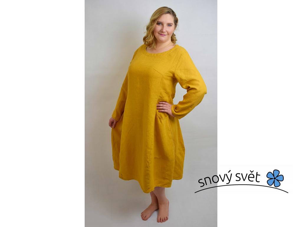 Lněné šaty Alice, žluté - BL0099_XL