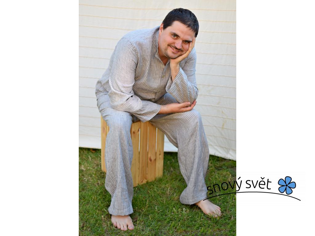 Lněné pyžamo šedý proužek - SS0099_XL