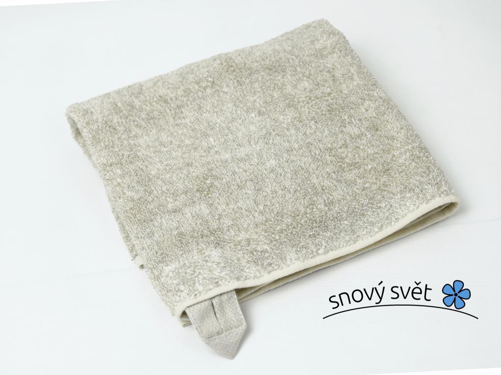 Lněný ručník měkký světlý melír - LP0049