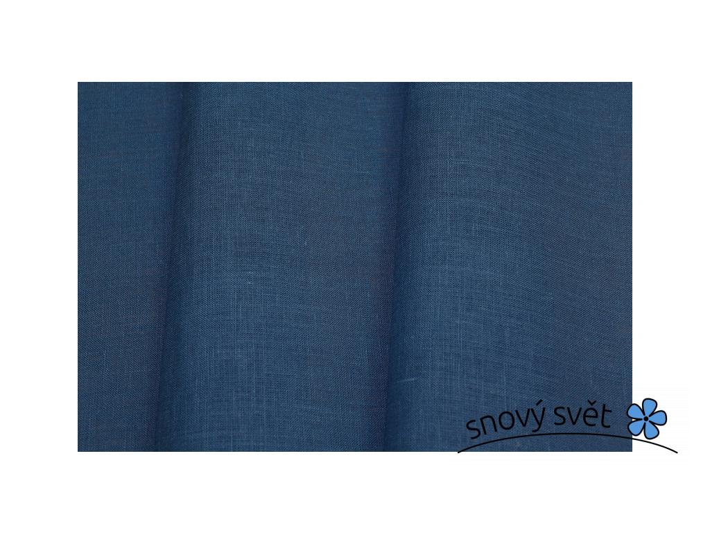 VZOREK - Lněná látka tmavě modrá 260 - BLX011_01