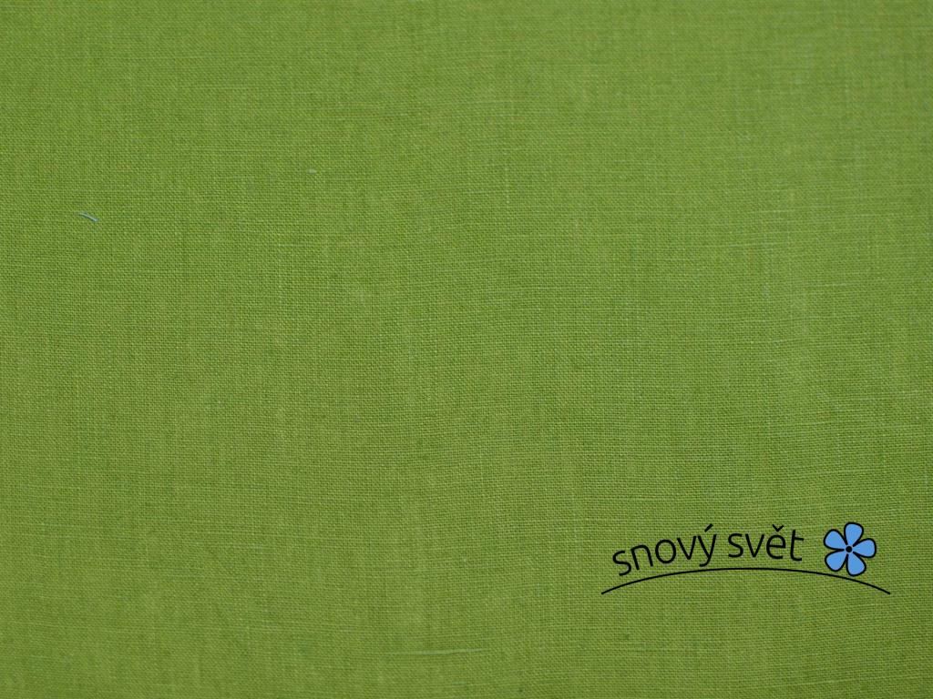 VZOREK - Lněná látka zelená měkčená - CNX012_01