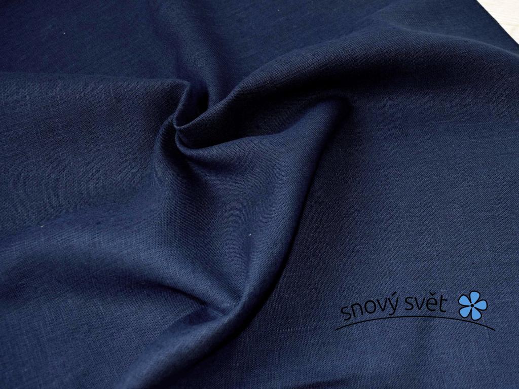 VZOREK - Lněná látka námořnická modrá - CNX021_01