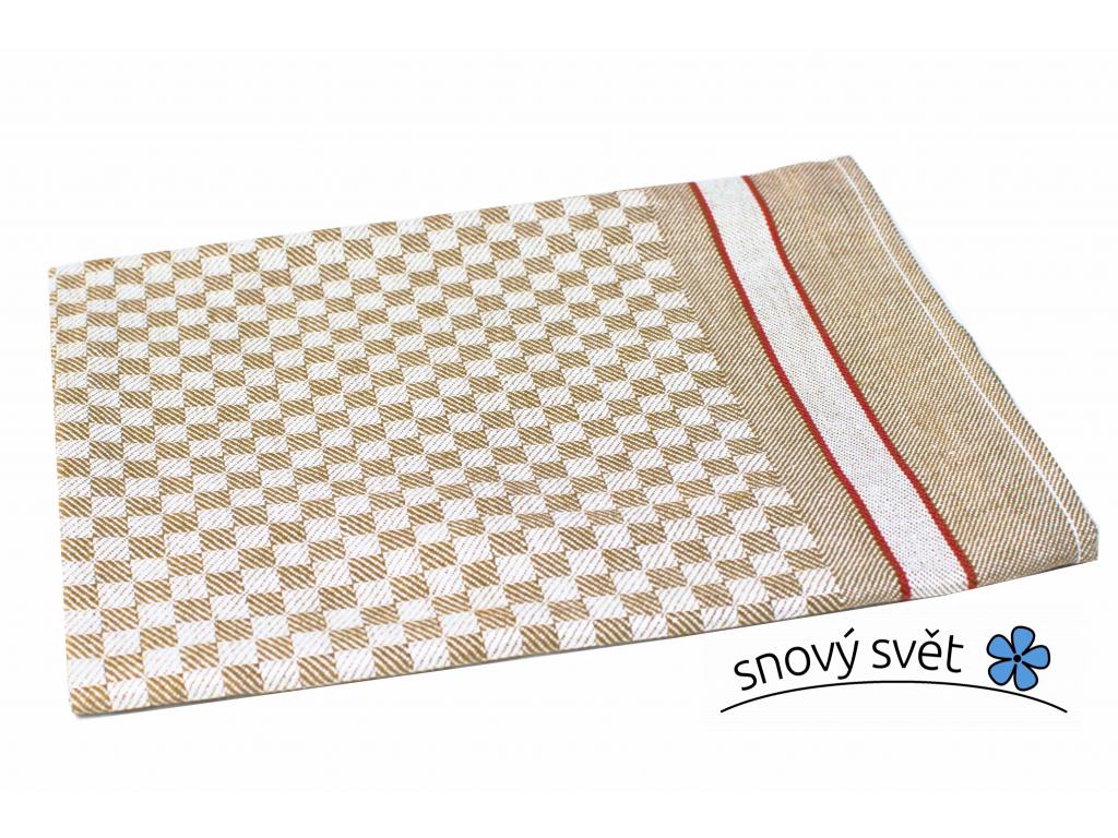 KARO hnědé - lněný ručník - LM0021