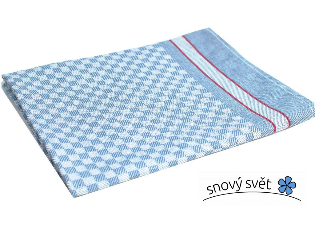 KARO modrá - lněný ručník - LM0023