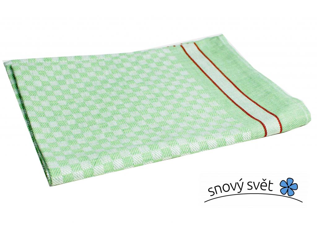 KARO zelená - lněný ručník - LM0026