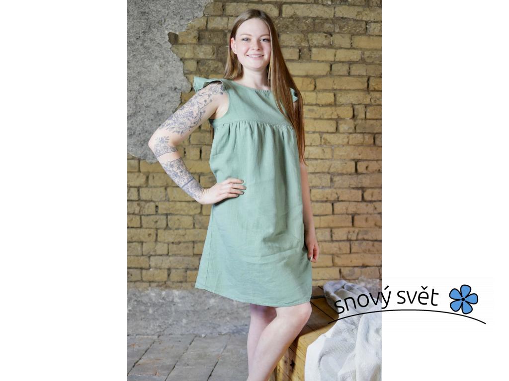 Lněné šata Mella - zelená - BL0114_38