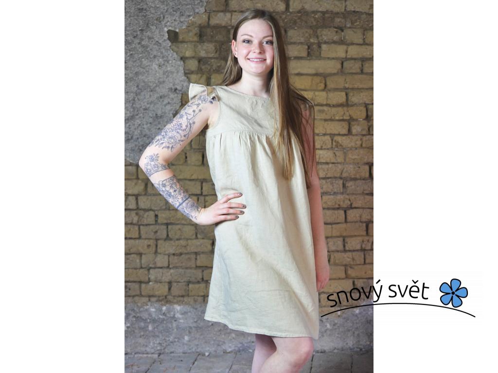 Lněné šaty Mella - béžová - BL0115_44