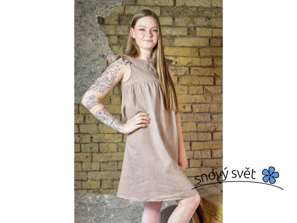 Lněná košilka Mella - hnědá - BL0116_38