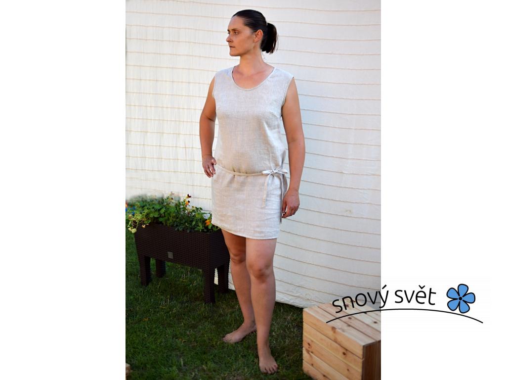 Lněná košilka letní melírová - s knoflíkem - SS0113_44